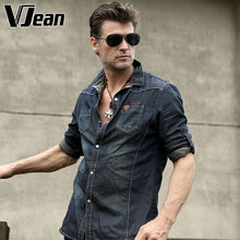 V JEAN Men's Hand-Crinkled Button-Down Casual Jean Shirt #2A213