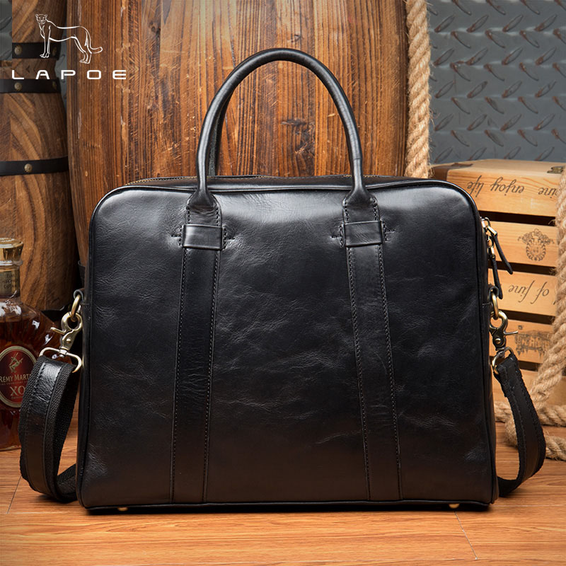 купить Business Briefcase Genuine Leather Men Bag Computer Laptop Handbag Man Shoulder Bag Messenger Bags Men's Travel Bags Black по цене 9399.97 рублей