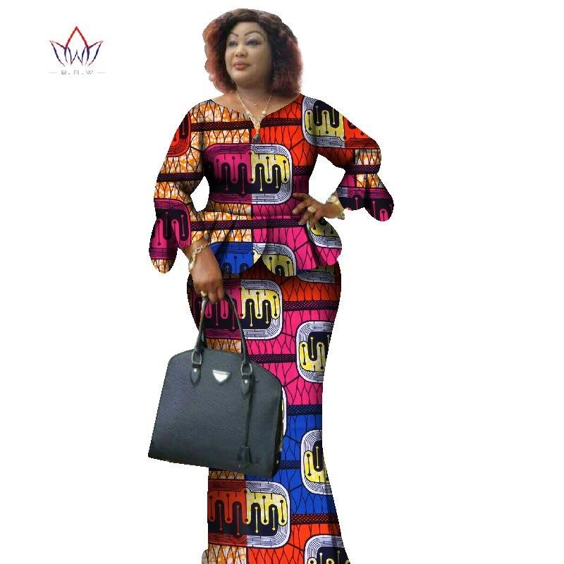 Cire africaine imprimer deux pièces ensemble 2018 Bazin Riche vêtements africains pour les femmes volants pétale manches haut court et jupe ensembles WY1068