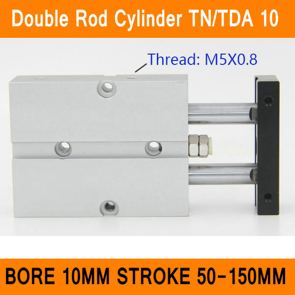 TN10 TDA Twin Spindle Air Cylinder Bore 10mm Stroke 50-150mm Dual Action Air Pneumatic Cylinders Double Action Pneumatic Parts twin rod tn 10mm bore 10mm stroke double acting air cylinder