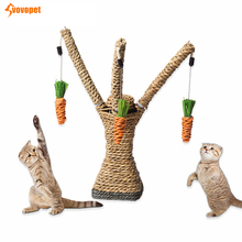 VOVOVPET Sisal Cat Toy Scratching Chew Playing Pet Cats Tree With hanging carrot