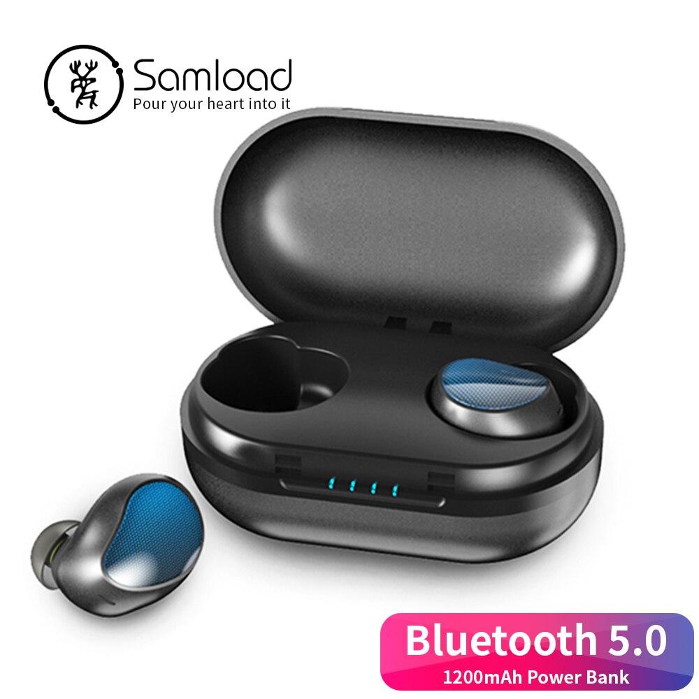 Samload Bluetooth 5.0 écouteurs écouteurs stéréo sans fil casque avec batterie externe boîte de charge pour Apple iPhone 7 8 Xiaomi Samsung