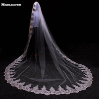 3 Meter White Ivory Cathedral Wedding Veils Long Lace Edge Bridal Veil With Comb Wedding Accessories