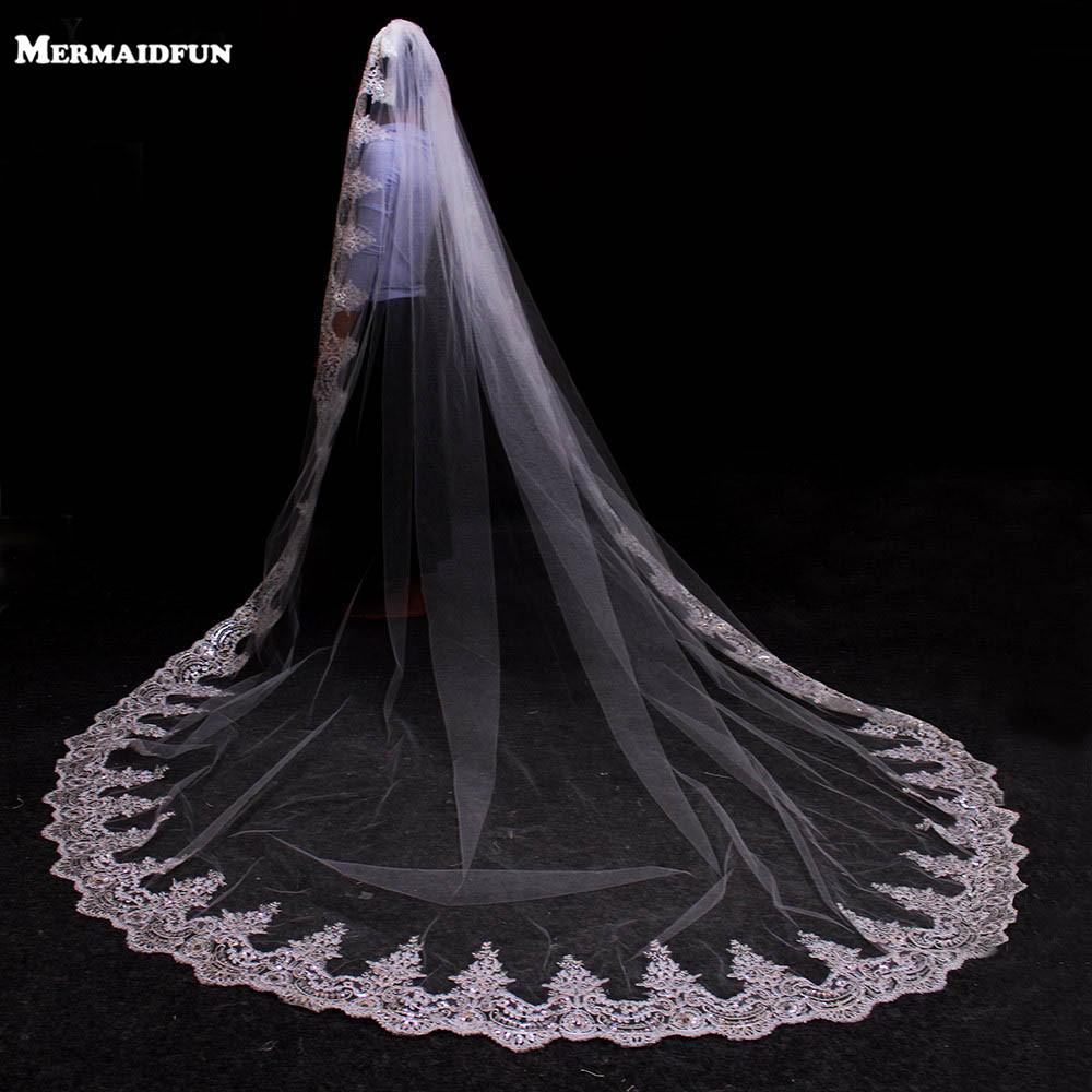 3 Meters White Ivory Cathedral Mantilla Wedding Veils Long Lace Edge Bridal Veil with Comb Wedding Accessories Bride title=