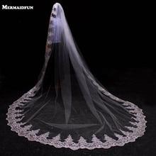 3 meter Wit Ivoor Kathedraal Mantilla Bruiloft Sluiers Lange Lace Edge Bridal Veil met Kam Bruiloft Accessoires Bruid