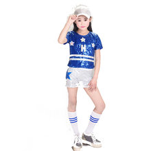 Jazz Dance Costumes Girls Children Hip Hop Costume Kids Street Dance Clothing Stage Show cheering Squad Sequins Suits 2pcs/set(China)