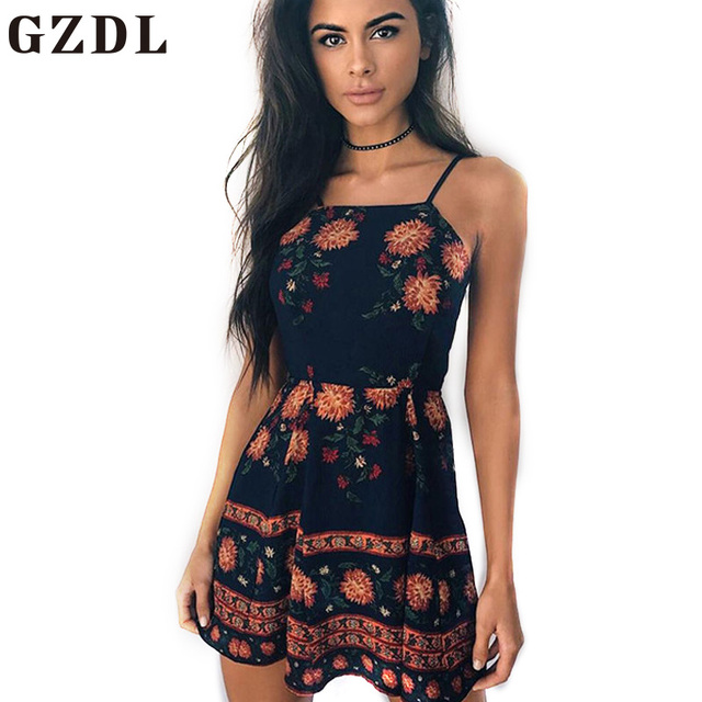 4a7ba77429 GZDL Vintage Spaghetti Strap Women Floral Print Mini Dress Sexy Sleeveless Backless  Summer Zipper Back Club