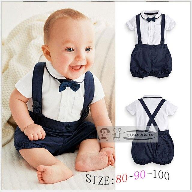 b5514b596 Ropa de verano para bebé de algodón 2 piezas traje corto Niño Caballero  suspensor juegos de