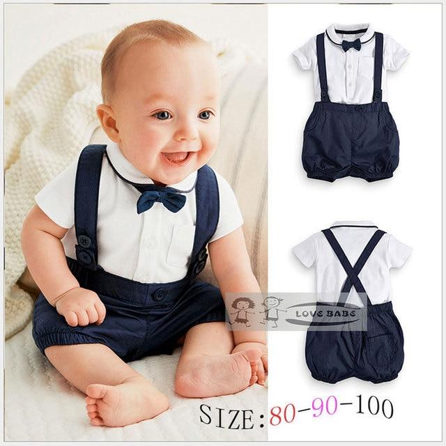 118170b0bf9f Summer Baby Clothing Cotton 2pcs Suit Short Infant Boy Gentleman Suspender  Gift Sets For Newborns Christening