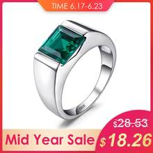 JewelryPalace Men's Square 2.2ct Green Created Emerald Engagement Ring 925 Sterling Sliver for Men Unique Fashion Jewelry(China)