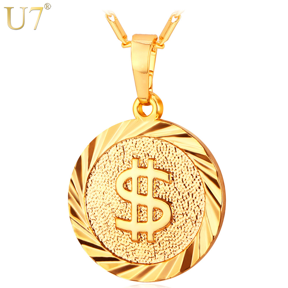 U7 Coin Necklace Men/Women Fashion Jewelry Yellow Silver/Gold Color Round Medal Money Sign US Dollar Necklaces & Pendants P619