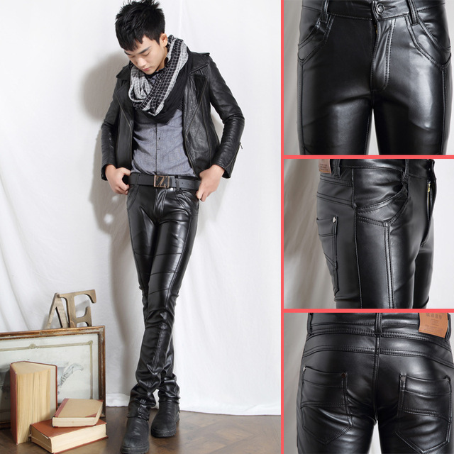 2017 Stretch Men Pant Biker Skinny Men Gothic Punk Fashion Faux Leather Pants PU Buckles Hip Hop Zippers Black Leather Trousers