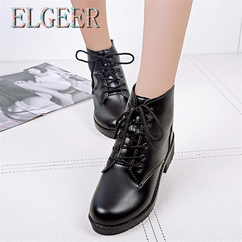 ELGEER Spring and Autumn New Womens PU Boots England Low-Width Winter Vulcanize Shoes