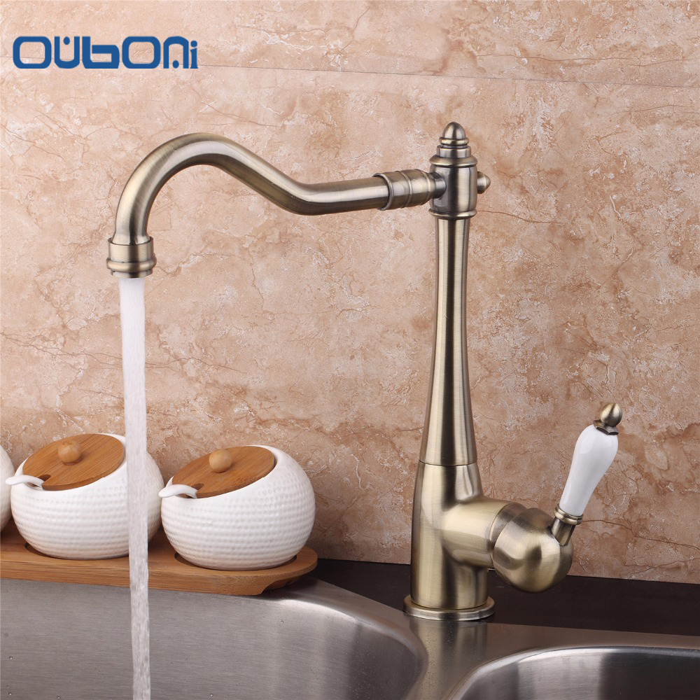 OUBONI 360 Swivel Stream Spout Antique Copper Chrome Brass Finish Deck Mounted Tap Kitchen Sink Faucet Hot & Cold Mixer  Taps antique brass swivel spout dual cross handles kitchen