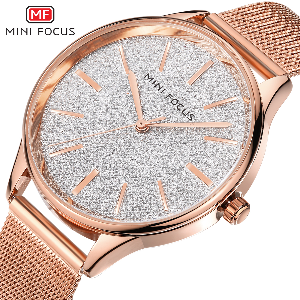 MINI FOCUS Brand Quartz Watch Women Watches Ladies Rose Gold Luxury Stainless Steel Wrist Watch Female Clock Relogio Feminino watch women luxury brand lady crystal fashion rose gold quartz wrist watches female stainless steel wristwatch relogio feminino