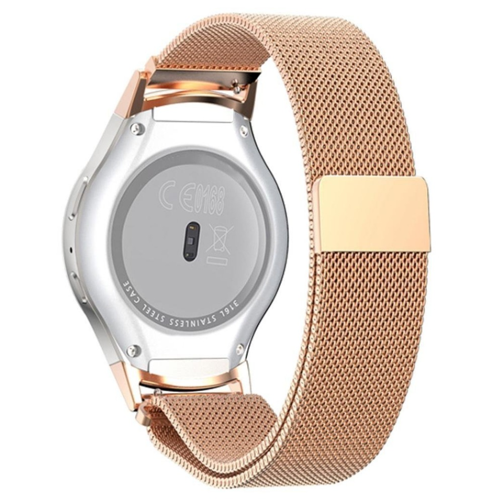 Joyozy For Samsung Gear S2/S4 RM-720 Watch Band  Magnetic Mesh Loop Stainless Steel Watch Strap+Connector Metal Adapter 20MM