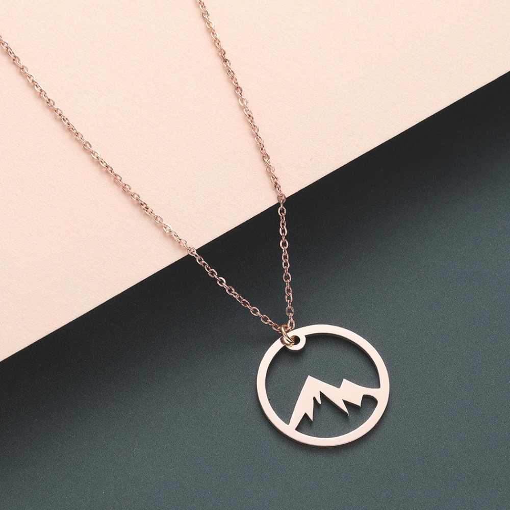 Chereda okrągły Hollow Mountain Dainy delikatny naszyjnik łańcuch ze stali nierdzewnej dla kobiet mężczyzn prosty wisiorek biżuteria