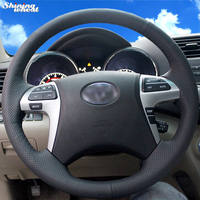 Shining wheat Hand stitched Black Leather Steering Wheel Cover for Toyota Highlander Toyota Camry 2007 2011