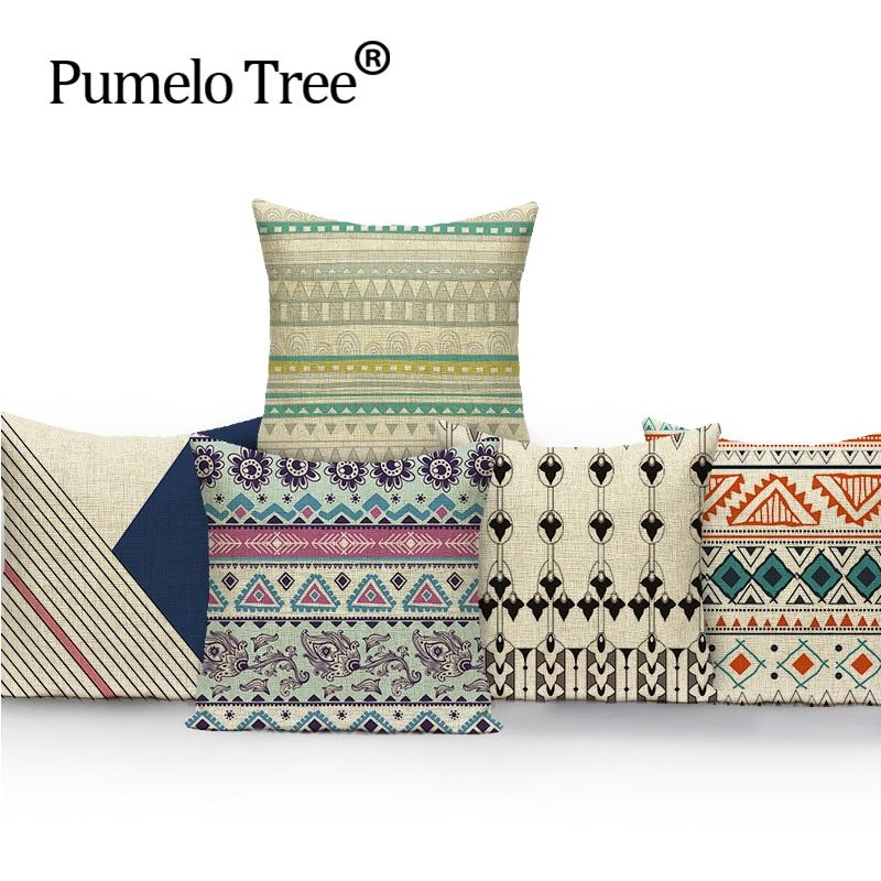 Geometrisch Vierkant kleurrijk Home Kussen Decoratief zacht zitkussen Covers linnen Scandinavisch mooi puur fris pakkussen almohada