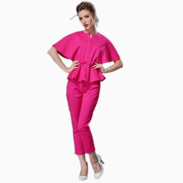 d2788a14540 Elegant Ladies Pants Suit New 2016 Top Fashion Summer Batwing Sleeve Womens  Suits Blazer With Pants 2 Piece Set Red Trouser Suit