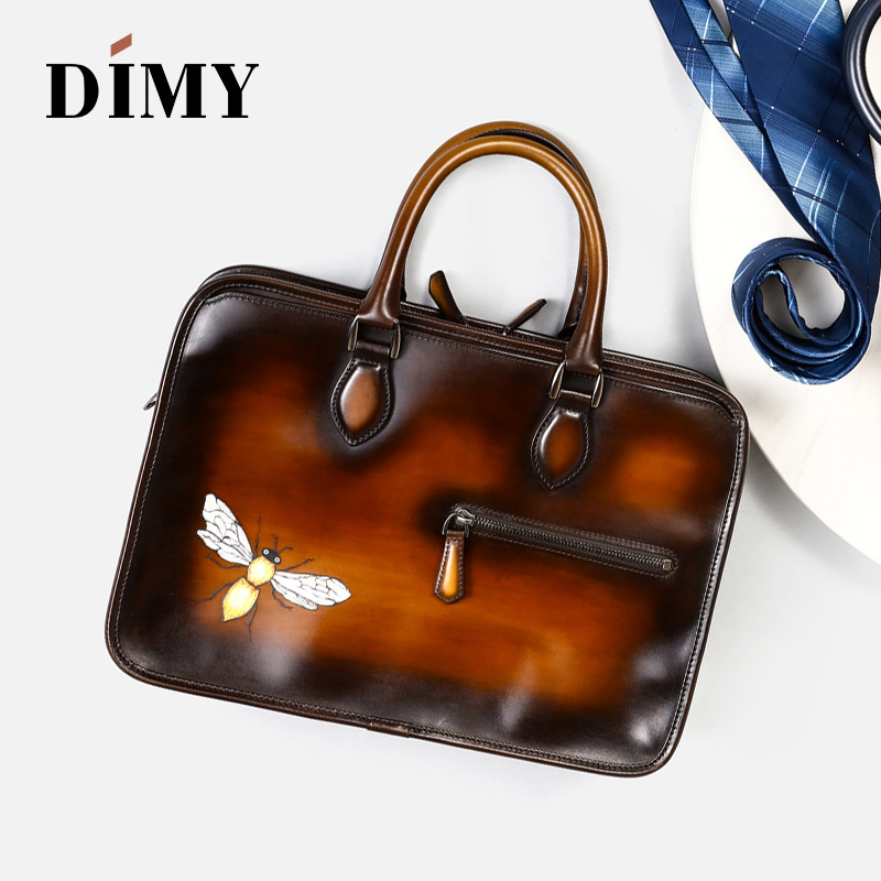 DIMY 2019 New Men's Bag Briefcases Calfskin Leather Handbags Shoulder Bag Luxury Brand Large Capacity Customize Pattern #9039