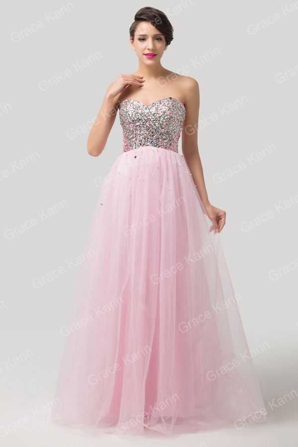 Pink Evening Dress 2016 New Sweetheart Grace Karin Sequin Strapless