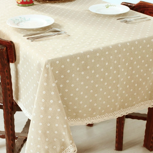 Merveilleux HBZ21 Flower Tablecloth Daisy Cover Cloth Linen Natural Funky Pastoral  Floral Fabric Rectangle Squre Beige Napkin