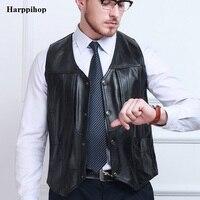 2017 Autumn Winter Black Genuine Leather Vests Sleeveless Leather Jacket Men Sheepskin V Neck Single Breasted Thin Vest