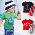 Baby Boys Summer Clothes Set Toddler Boy Casual Clothing Sets Kids Short Sleeve T-shirt+Striped Pants Children Sport Suits CF101