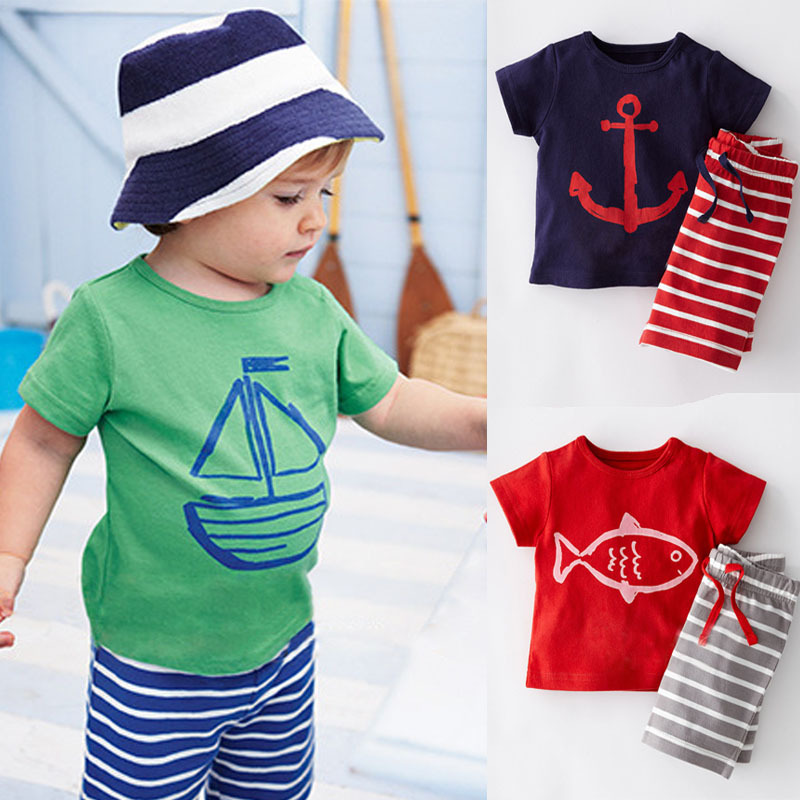 bae58c31 NWAD Boys Summer Clothes Set Toddler Boy Casual Clothing Sets Kids Short  Sleeve T-shirt+Striped Pants Children Sport Suits CF101