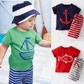 Verano de Los bebés Ropa Fijada Niño Boy Ropa Casual Establece Niños de Manga Corta camiseta + Pantalones Rayados Niños Trajes del deporte CF101