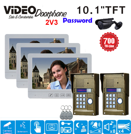 ZHUDELE Multi-thin 10.1 Inch Display Screen Home Intercom System Video Door Phone RFID Camera Night Vision Popular Doorbell