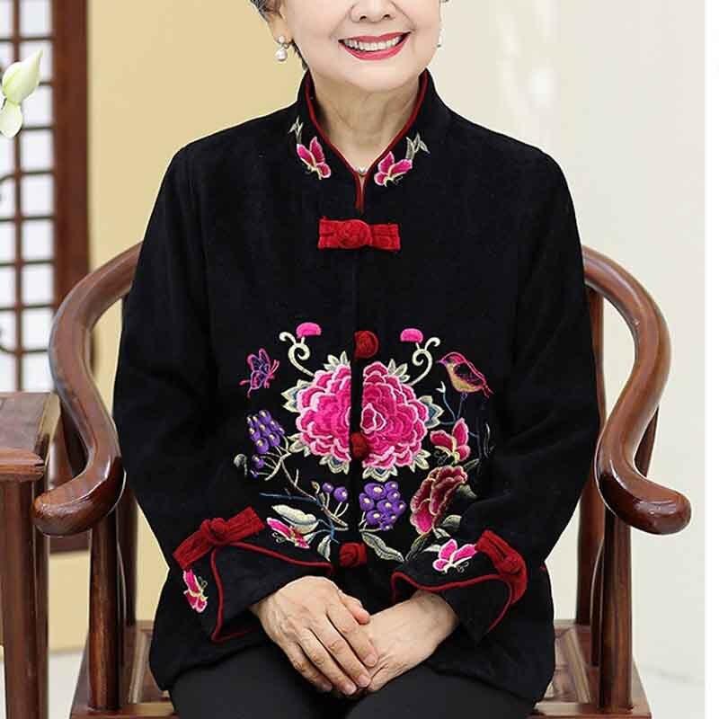 Tang Pc457 Nouvelle Printemps Brodé Femelle Noir D'âge Automne Moyen Et Mère Veste rouge mère Grand Robe qRxOwYtfnS