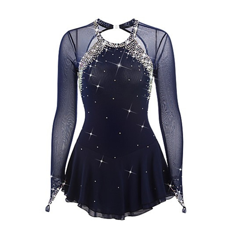 Pattinaggio di figura Vestito Pattinaggio Su Ghiaccio Dress Dark Blue Spandex Del Rhinestone delle Ragazze delle Donne di Alta Elasticità Pattinaggio Usura di Prestazione A Mano