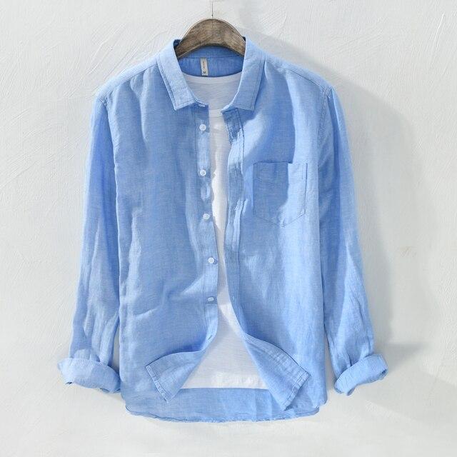 7a1cd3727a 2018 Wiosna koszula mężczyzna z długim rękawem casual lniane lnu mężczyzn  odzież koszule solidna moda koszula