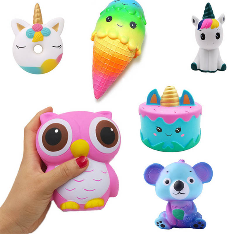 Antistress Cute Squishy Slow Rising Galaxy Deer Poo Bread Hamburger Coffee Strawberry Ice PU Squishy Toys Squeeze Squishes Toy