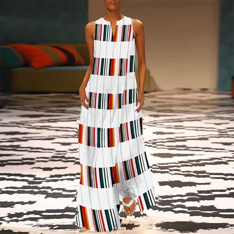 d54278c482a0078 VONDA женское Полосатое Макси длинное платье 2019 летнее сексуальное с  v-образным вырезом без рукавов повседневное в пол лоскутное платье плюс р.