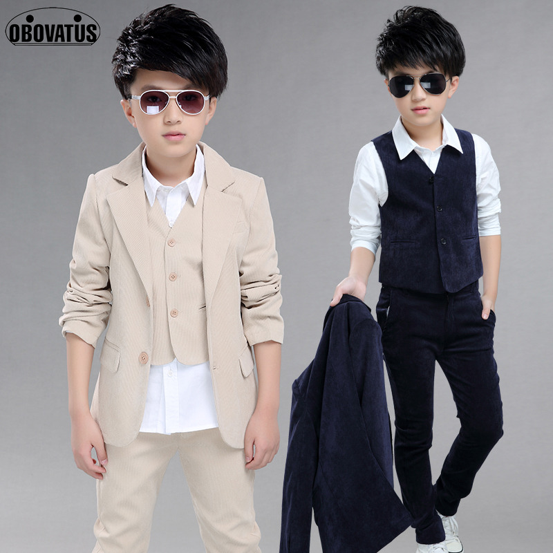 2017 Brand New Boys Formal Wedding Suit England Style Boys Coat Vest Pants 3Pcs Suit Kids Party Evening Formal Wear Clothes Set blazers for boys spring kids clothes suit formal plaid coat vest pants 3pcs set boys wedding suit 3 10y boys suits for wedding