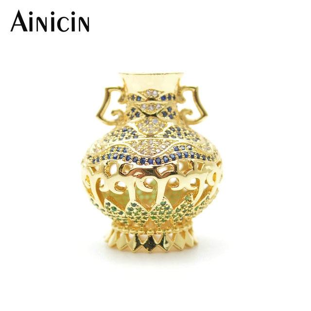 2pcs Large Size Rhinestone Crystal Setting Gold Color Vase Shape