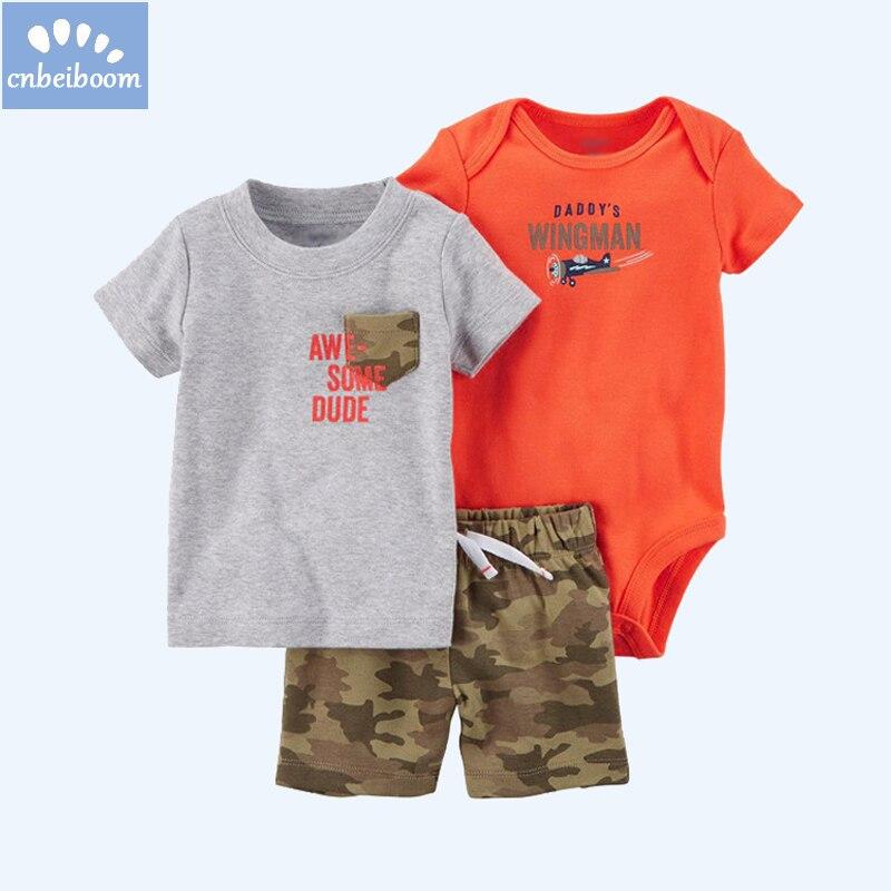 3-Piece boy baby clothing sets Camouflage short + romper + t shirt infant newborn casual summer clothes set sport suit
