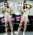Designer Brand tracksuit Summer/spring 2 Piece Pants Set Women Casual sportswear Sequined 3D Flowers jacket+harem Pant suit swag