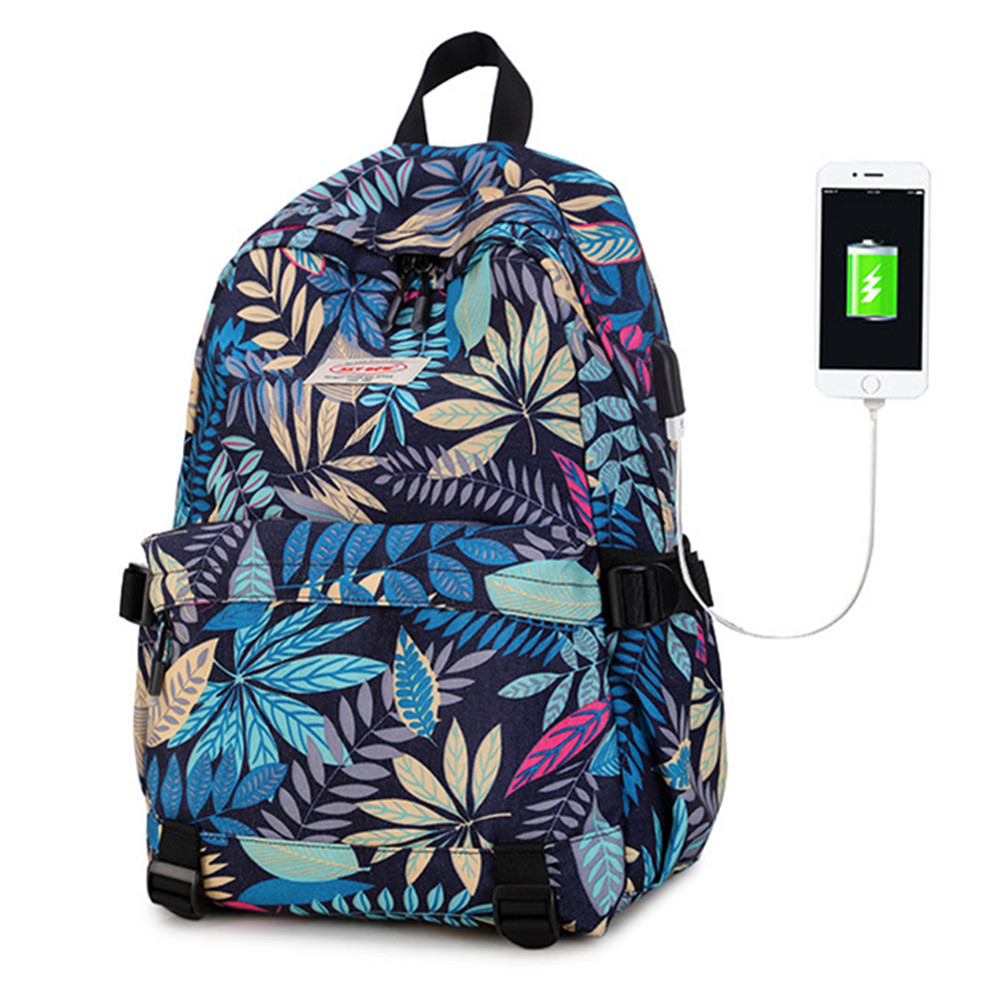 2017 New Fashion Women/Men bags  Flowers prints USB Rechargeable Backpack Students School Bag For Girls Boys Rucksack mochila
