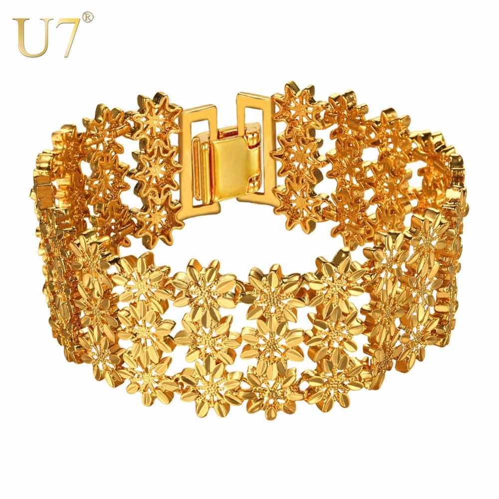 U7 Bracelet Exquisite 3 Layered Flower Bangle Gold/Silver Color Christmas Gift For Women 2017 New Trendy Jewelry Bracelets H1046