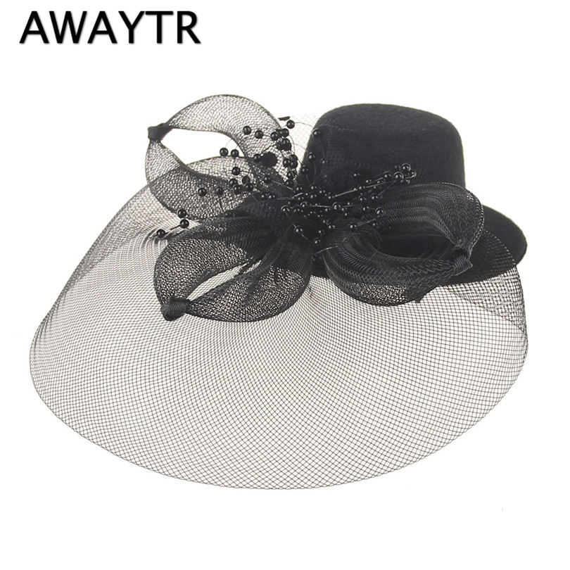 AWAYTR Beautiful White Black Floral Wedding Veil Hats for Bride Mother Chapeau Femme Mariage Chapeu Noiva Linen Pearl Hats beautiful darkness