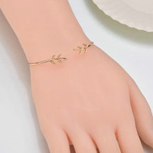 11.11 Hot New Fashion Open the Leaf Charm Bracelets Women Jewelry Double Gold Silver Bilezik Opening Gift Mujer Pulseras(China)