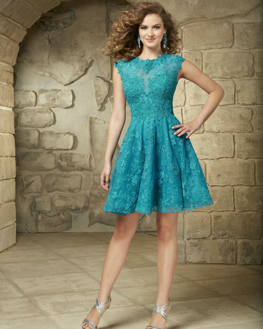 8ac1af55946 Turquoise Homecoming Dresses High Neck Style 9343 Lace Cocktail Dresses  Lilac Sleeveless Sweet 16 Birthday Dresses