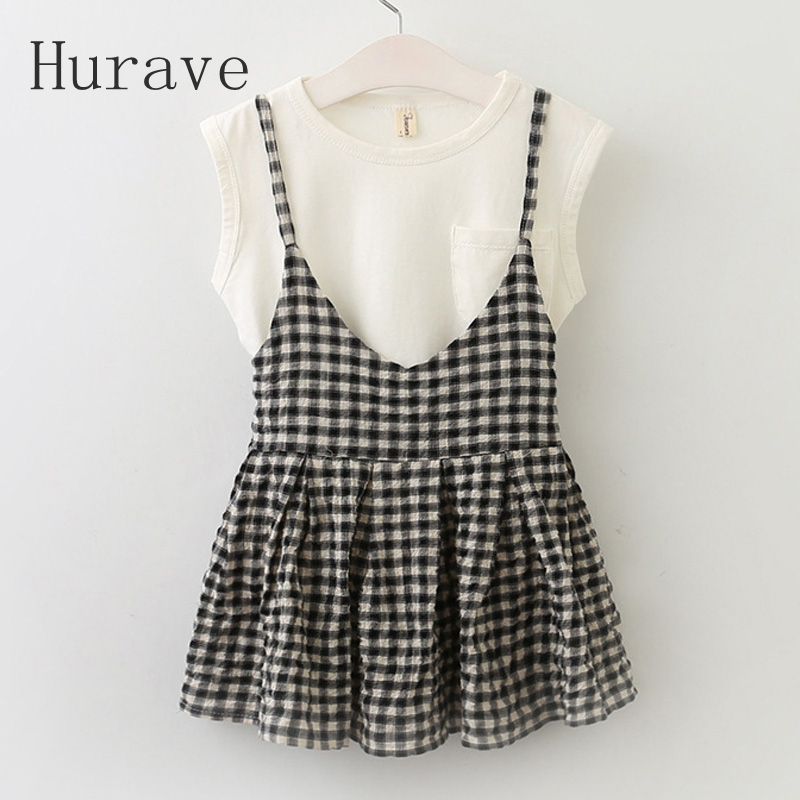 Hurave 2017 New Girls Plaid Short Sleeve Sets Children Summer Clothing Sets Kids Clothes t-shirt +Skirt 2Pcs Summer Casual Suit