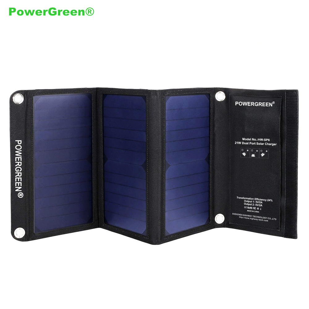 2018 New PowerGreen 21W Solar Charger Foldable Double USB Charger Solar Panel Cell External Battery Pack for Mobile Phone