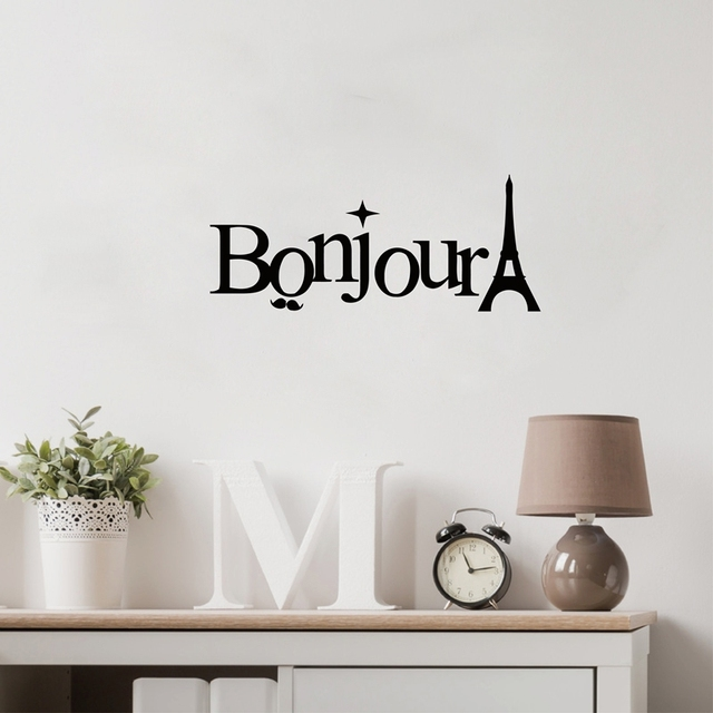 Bonjour eiffel tower salle de bain wall art stickers french language decorative wall decals free shipping
