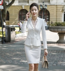 Novelty White Fashion Styles Formal Business Suits With Blazer and Skirt Ladies Professional Office Work Wear Blazers Sets